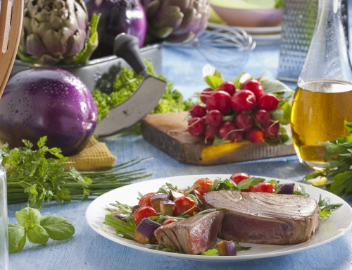 Potato-Wrapped Canadian Albacore Tuna with Mushrooms & Red Wine